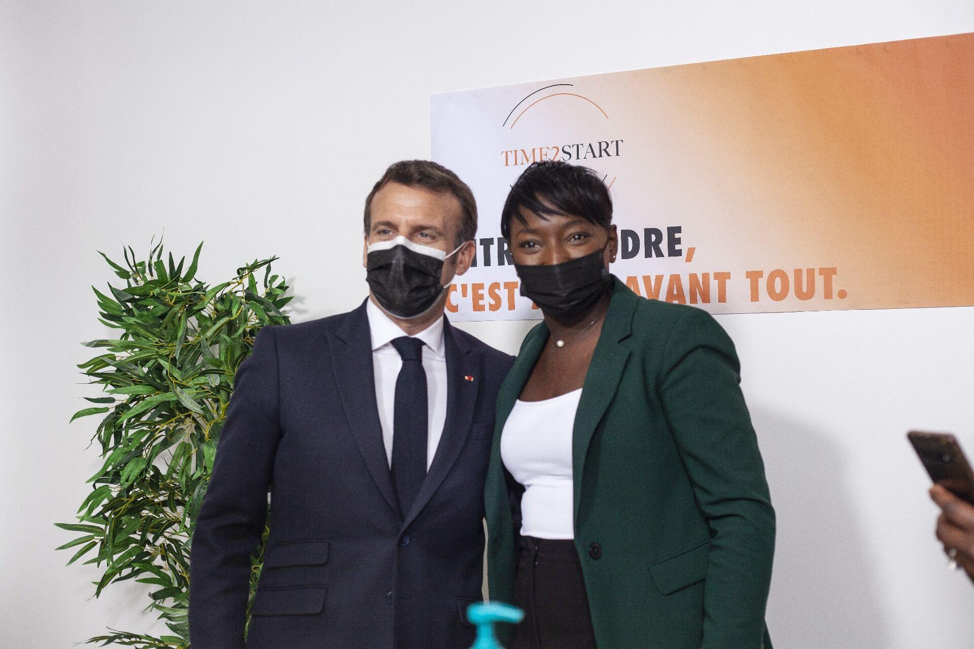 Journée internationale des droits de la femme : Hawa Dramé, fondatrice de Time2Start reçoit Monsieur le président Emmanuel Macron et ses ministres